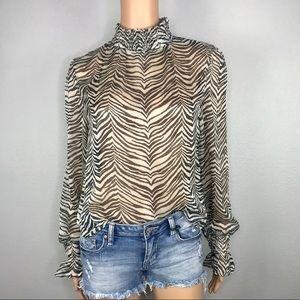 Blue blush smocked zebra printed blouse